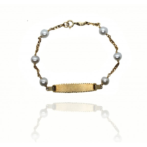 Esclava Oro 18k Perlas Comunión 60020