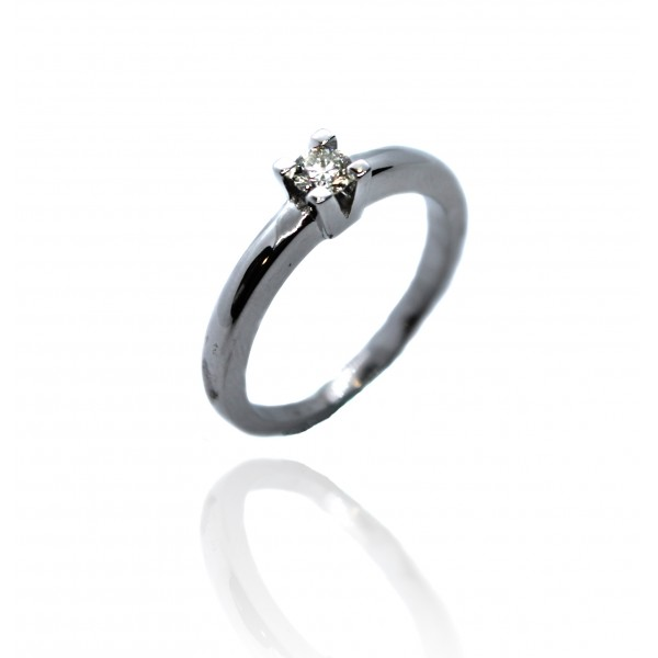 Sortija Oro Blanco 18k Diamante 0.18 ct