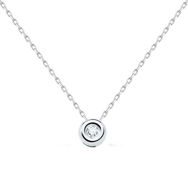 Gargantilla Oro Blanco 18k Diamante 0.04 cts