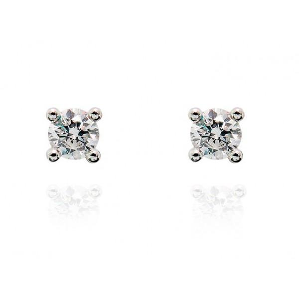 Pendientes Oro Blanco 18k Diamantes 0.10 cts