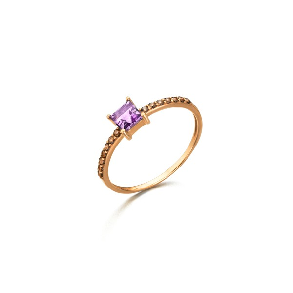 Anillo Oro Rosa 18k Lecarré Amatista y Diamantes GA016OR