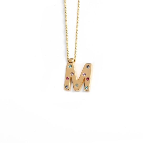 Collar Victoria Cruz Letra M Multicolor A3646-MDG